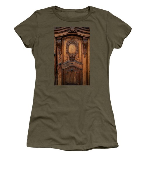 Old Ornamented Wooden Doors Women's T-Shirt (Junior Cut) by Jaroslaw Blaminsky