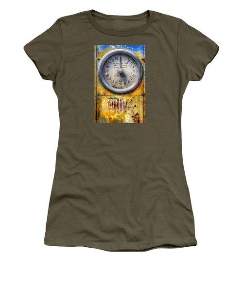 Old Petrol Pump Gauge Women's T-Shirt (Junior Cut) by Ian Mitchell