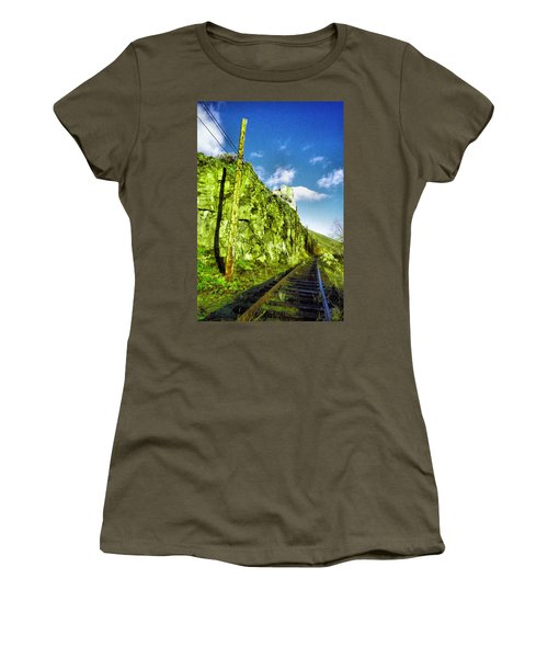 Women's T-Shirt (Junior Cut) featuring the photograph Old Trolly Tracks by Jeff Swan