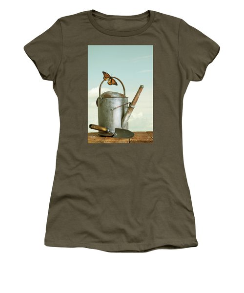 Old Watering Can With A Butterfly Women's T-Shirt (Athletic Fit)