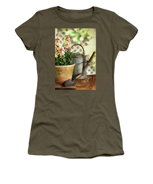 Old Watering Can With Plant Women's T-Shirt