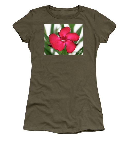 Women's T-Shirt (Junior Cut) featuring the photograph Oleander Blood-red Velvet 1 by Wilhelm Hufnagl