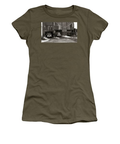 Olyphant Pa Coal Breaker Loading Trucks And Gondola Car Winter 1971 Women's T-Shirt