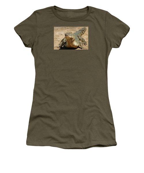 Women's T-Shirt (Junior Cut) featuring the photograph One Crazy Saltwater Crocodile by Gary Crockett