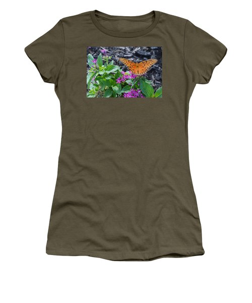 Open Wings Of The Gulf Fritillary Butterfly Women's T-Shirt (Athletic Fit)
