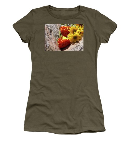 Orange And Yellow On Pink Granite Women's T-Shirt (Athletic Fit)
