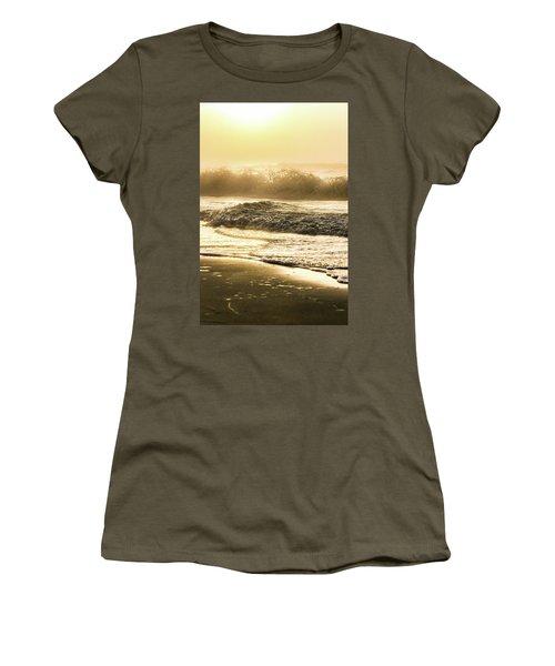 Women's T-Shirt (Junior Cut) featuring the photograph Orange Beach Sunrise With Wave by John McGraw