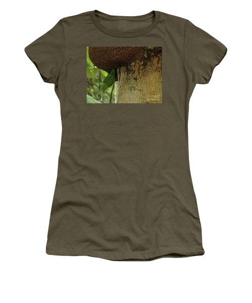 Orange -chinned Parakeet  On A Termite Mound Women's T-Shirt