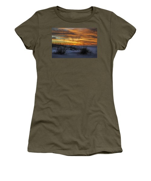Orange Clouded Sunrise Over The Pier Women's T-Shirt