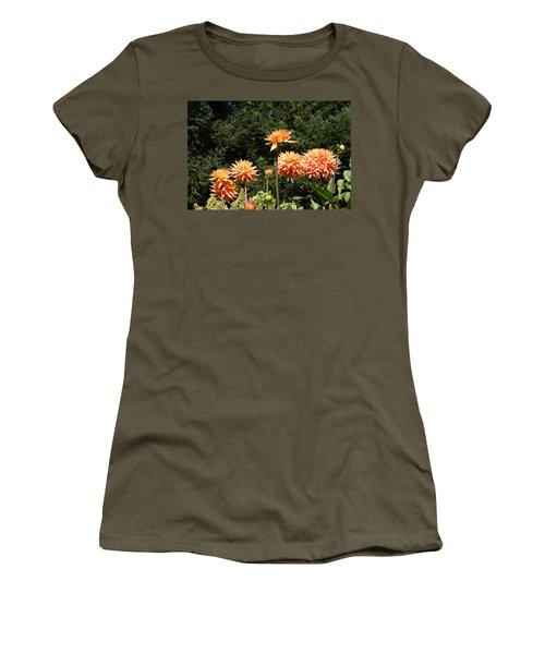 Orange Dahlia Flower Garden Art Prints Women's T-Shirt