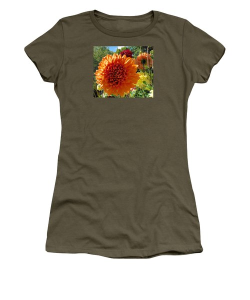Orange Dahlia Suncrush  Women's T-Shirt (Athletic Fit)