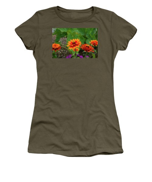 Orange Flowers Women's T-Shirt (Athletic Fit)