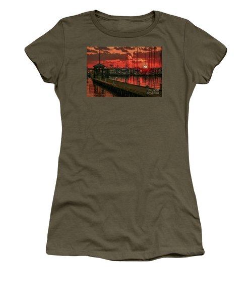Orange Marina Sunrise Women's T-Shirt (Junior Cut) by Tom Claud