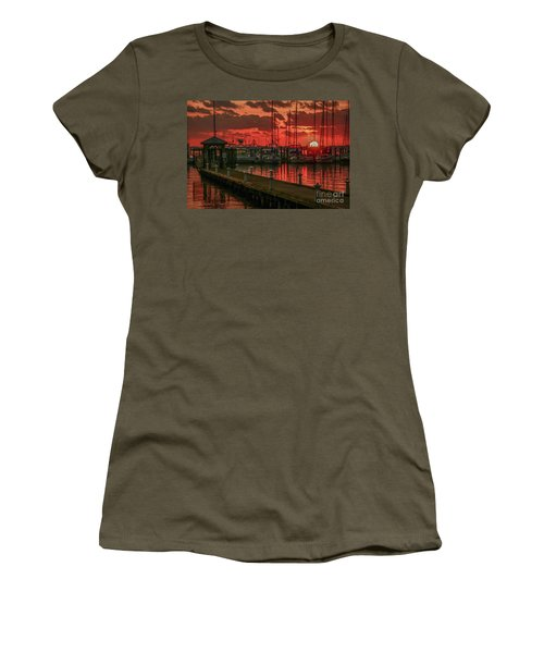 Orange Marina Sunrise Women's T-Shirt (Athletic Fit)