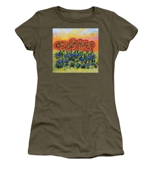 Orange Sunset Flowers Women's T-Shirt