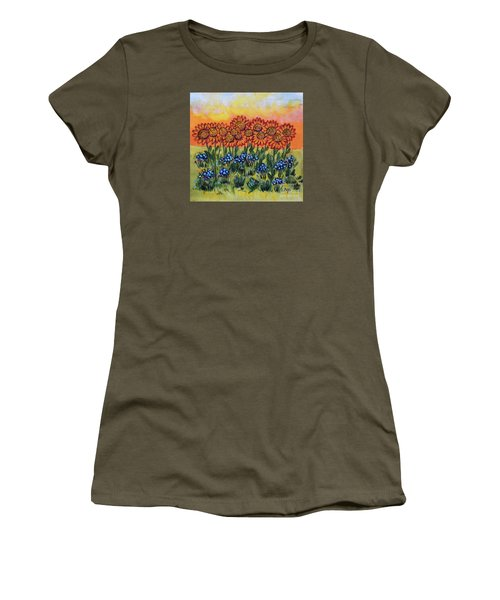 Orange Sunset Flowers Women's T-Shirt