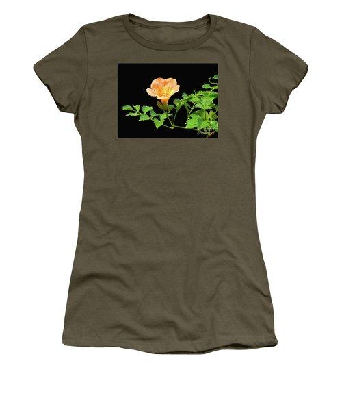 Orange Trumpet Flower Women's T-Shirt (Junior Cut) by Susan Lafleur