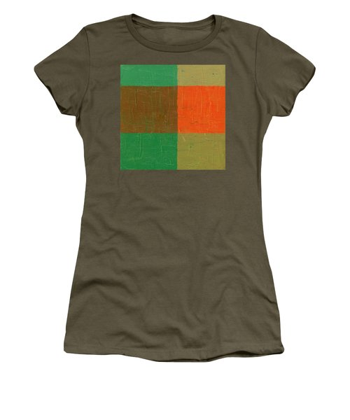 Orange With Brown And Teal Women's T-Shirt (Junior Cut) by Michelle Calkins