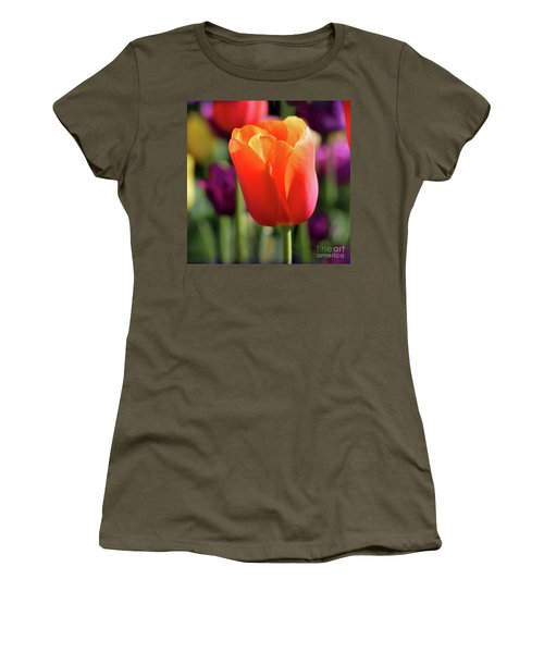 Orange Tulip Square Women's T-Shirt