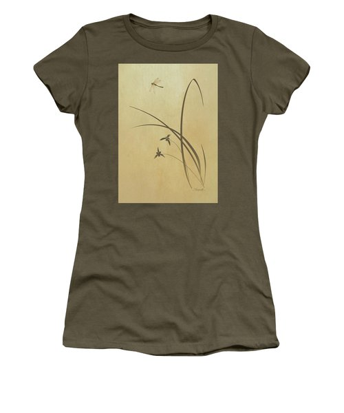 Orchid And Dragonfly Women's T-Shirt (Athletic Fit)