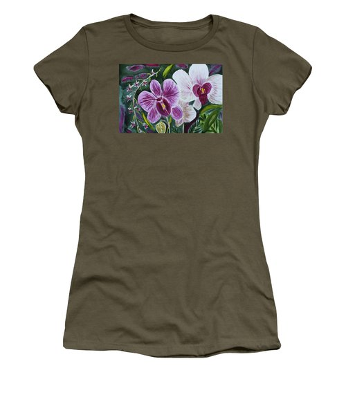 Women's T-Shirt (Junior Cut) featuring the painting Orchid At Aos 2010 by Donna Walsh