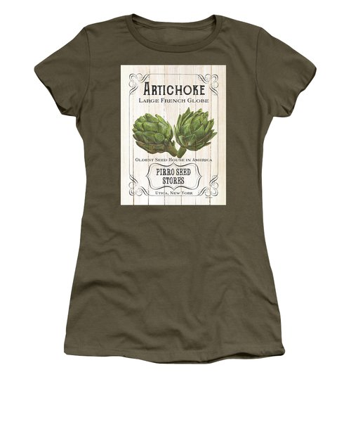 Women's T-Shirt (Junior Cut) featuring the painting Organic Seed Packets 1 by Debbie DeWitt