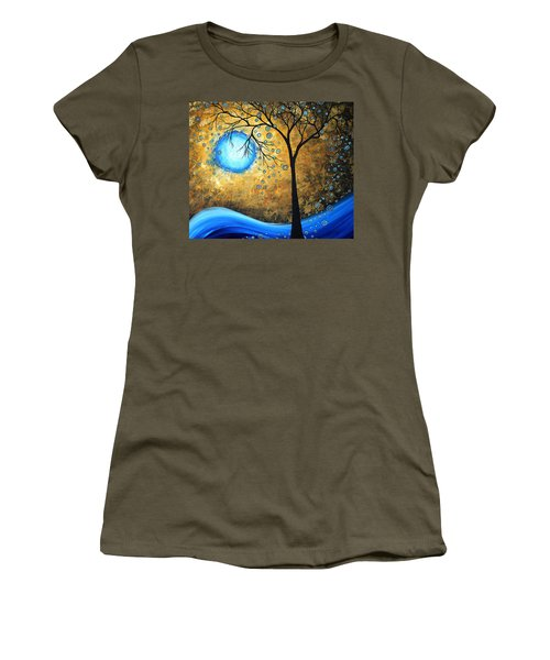 Orginal Abstract Landscape Painting Blue Fire By Madart Women's T-Shirt