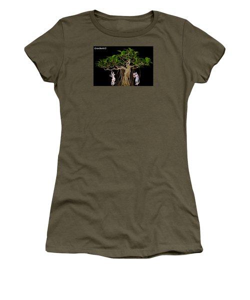 Women's T-Shirt (Junior Cut) featuring the digital art Oriental Bonsai Gods by Gary Crockett