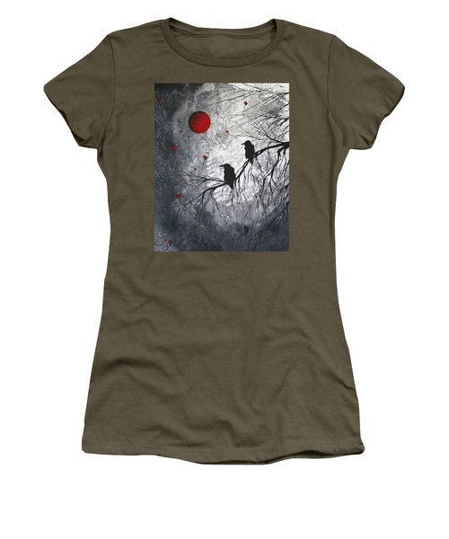 Original Abstract Surreal Raven Red Blood Moon Painting The Overseers By Madart Women's T-Shirt