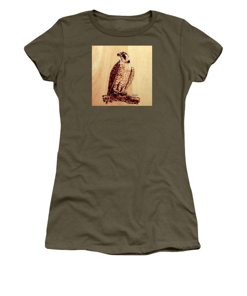 Women's T-Shirt (Junior Cut) featuring the pyrography Osprey 2 Pillow/bag by Ron Haist