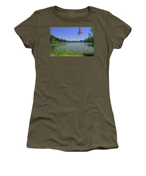 Osprey Fishing At Wapato Lake Women's T-Shirt (Athletic Fit)