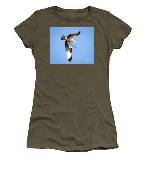 Women's T-Shirt (Athletic Fit) featuring the photograph Osprey In Flight by Ricky L Jones