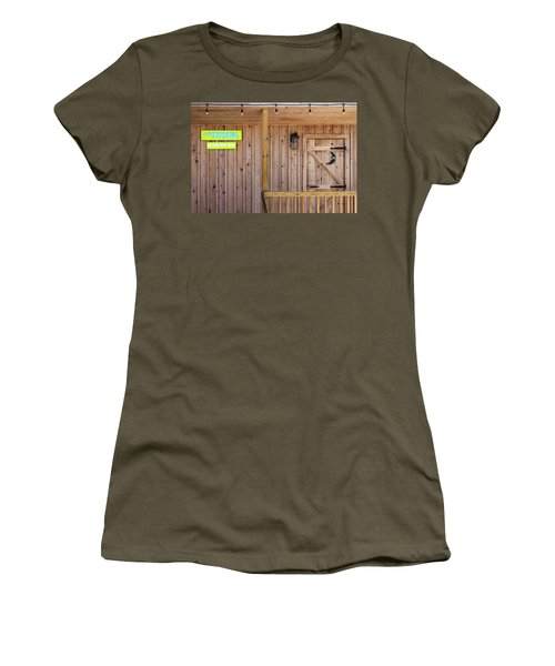 Women's T-Shirt (Athletic Fit) featuring the photograph Outhouse At Bar For Returning Beer by Bob Slitzan