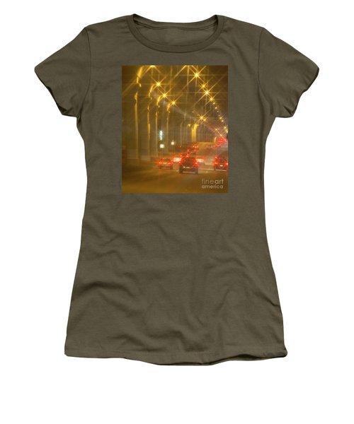 Women's T-Shirt (Junior Cut) featuring the photograph Overpass Traffic by Linda Phelps