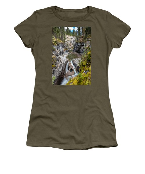 Women's T-Shirt (Junior Cut) featuring the photograph Owl Face Falls Of Maligne Canyon by Pierre Leclerc Photography