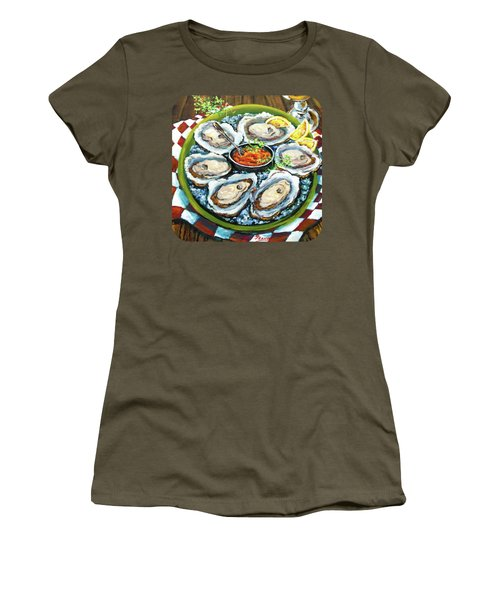Women's T-Shirt (Junior Cut) featuring the painting Oysters On The Half Shell by Dianne Parks