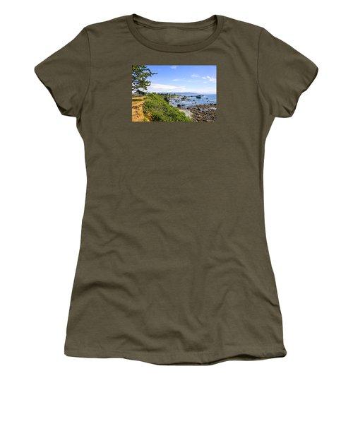 Pacific Coastline In California Women's T-Shirt (Junior Cut) by Chris Smith