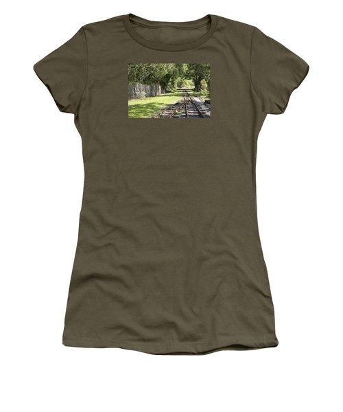 Women's T-Shirt (Junior Cut) featuring the photograph Padarn Lake Railway by Christopher Rowlands