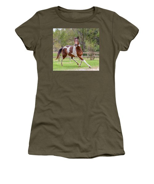 Paint Mare In Field Women's T-Shirt (Junior Cut) by Gwen Vann-Horn