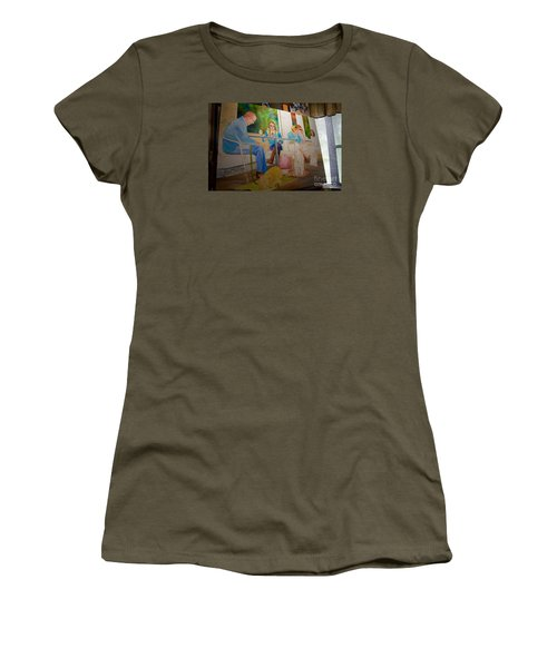 Women's T-Shirt (Junior Cut) featuring the painting Painting Dogs On Park Avenue by AnnaJo Vahle