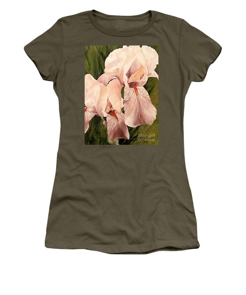 Women's T-Shirt (Athletic Fit) featuring the painting Pair Of Peach Iris  by Laurie Rohner