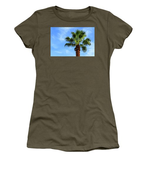 Palm Tree, Blue Sky, Wispy Clouds Women's T-Shirt (Athletic Fit)