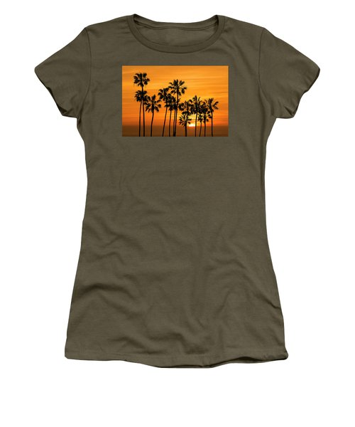 Women's T-Shirt (Junior Cut) featuring the photograph Palm Trees At Sunset By Cabrillo Beach by Randall Nyhof