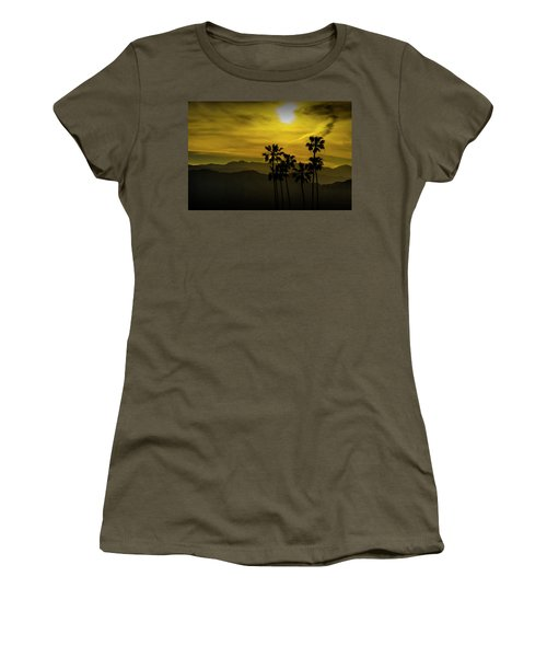 Women's T-Shirt (Junior Cut) featuring the photograph Palm Trees At Sunset With Mountains In California by Randall Nyhof