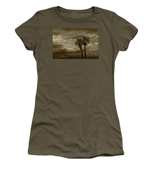 Women's T-Shirt (Junior Cut) featuring the photograph Palm Trees By Borrego Springs In Sepia Tone by Randall Nyhof