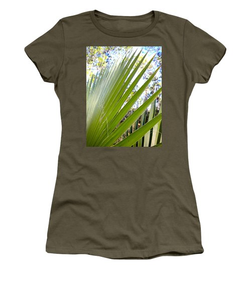 Women's T-Shirt (Junior Cut) featuring the painting Palmetto 1 by Renate Nadi Wesley