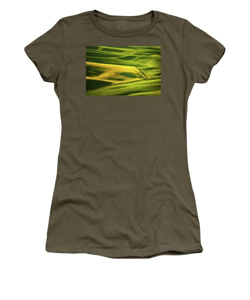 Women's T-Shirt (Junior Cut) featuring the photograph Palouse Shades Of Green by Dan Mihai