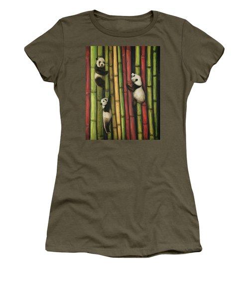Pandas Climbing Bamboo Women's T-Shirt (Junior Cut) by Leah Saulnier The Painting Maniac