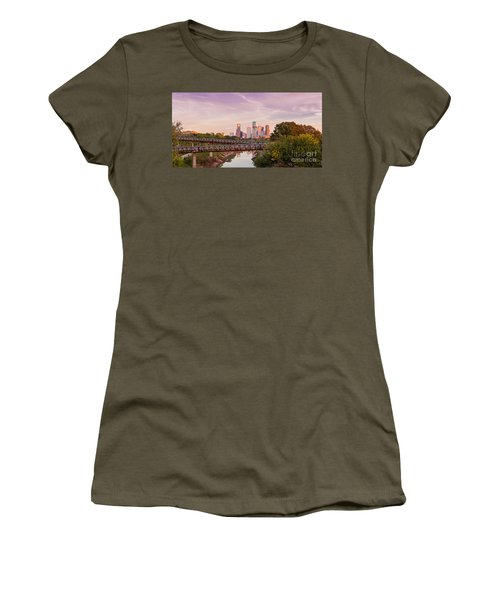 Panorama Of Downtown Houston Skyline From Studemont Drive - Buffalo Bayou Park Houston Texas Women's T-Shirt