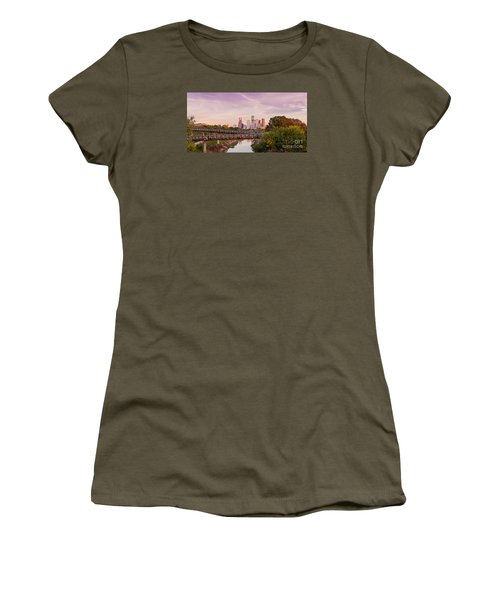 Panorama Of Downtown Houston Skyline From Studemont Drive - Buffalo Bayou Park Houston Texas Women's T-Shirt (Athletic Fit)